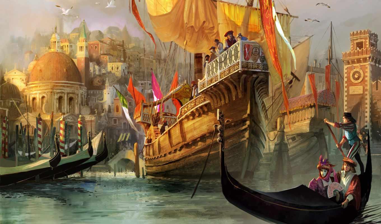 anno, art, medieval, город, порт, venice, рисунки, купцы, чайки,