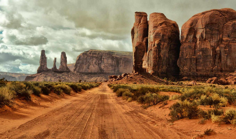 сша, arizona, дорога, долина, монументов, red, памятник, oblaka, песок,