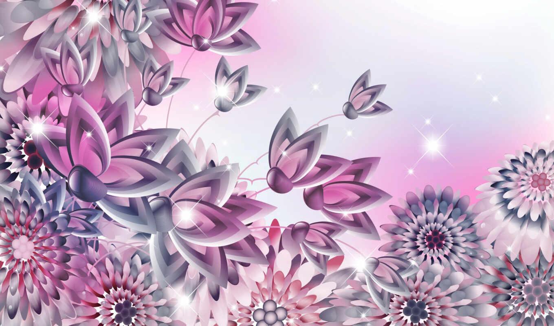 цветы, графика, вектор, flore, foto, vectore, gráfico, abstract