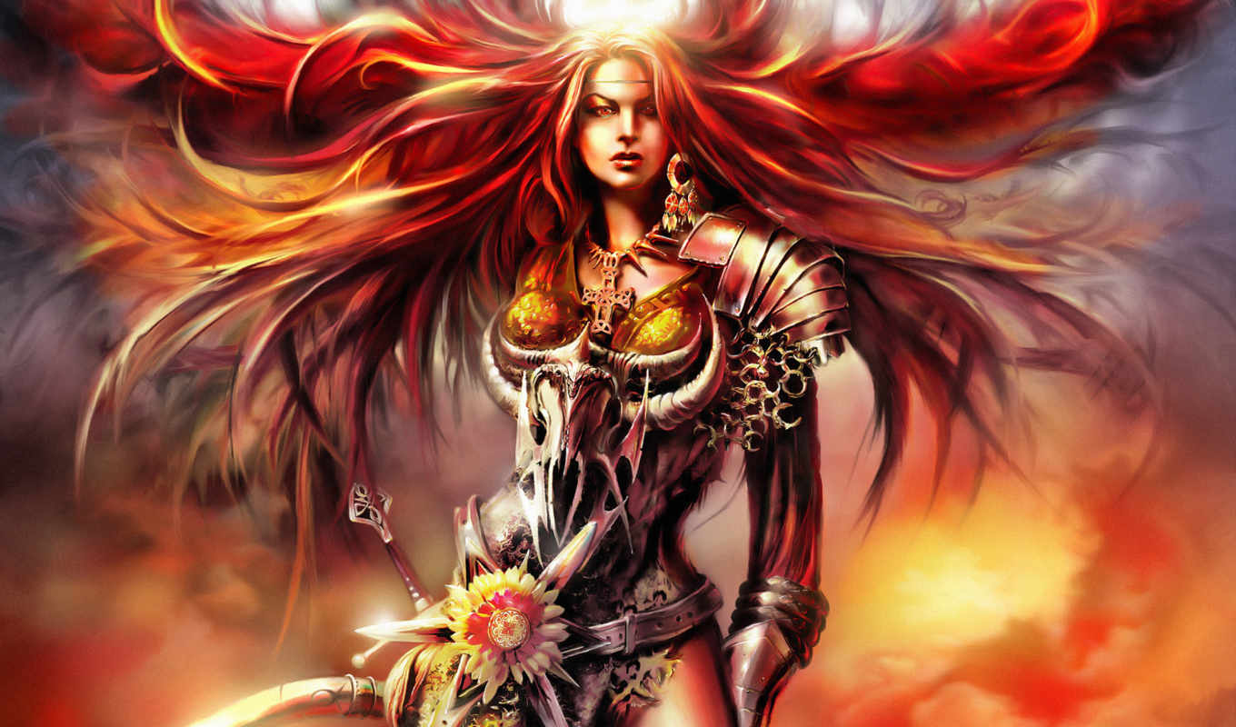 blood, warrior, girl, fantasy, magic, игры, fantacy, букеты, desktop, фэнтези, girls,