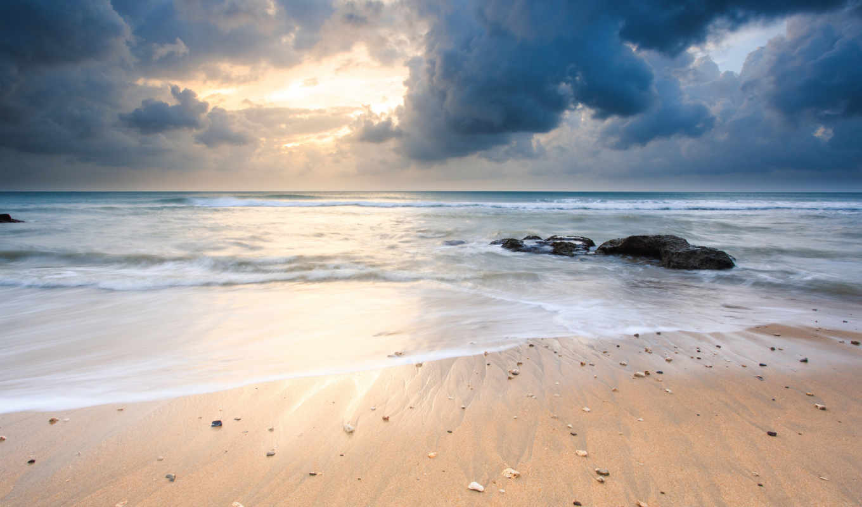 природа, море, камни, песок, берег, пейзаж, небо, beach,