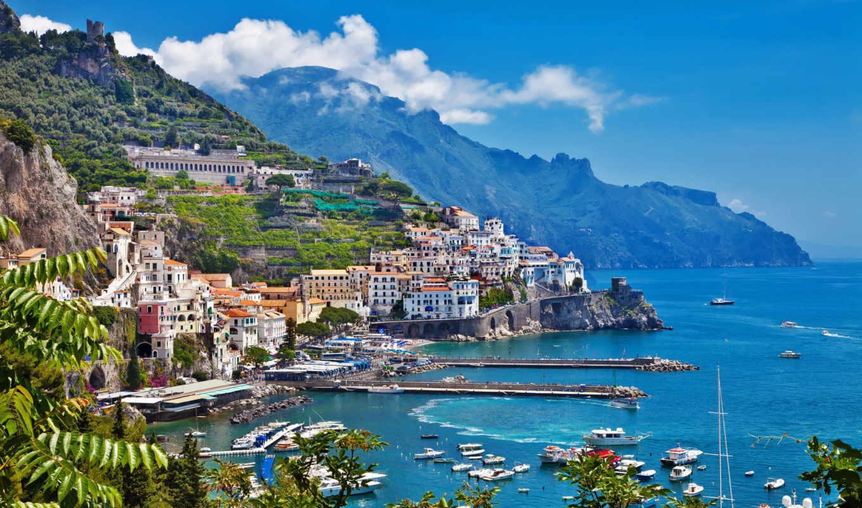 amalfi, италия, дома, горы, море, здания, побережье, картинку, desktop, tür, картинка, beautifu,