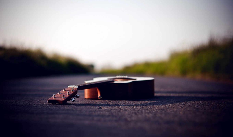 небо,дорога,гитара,трава,