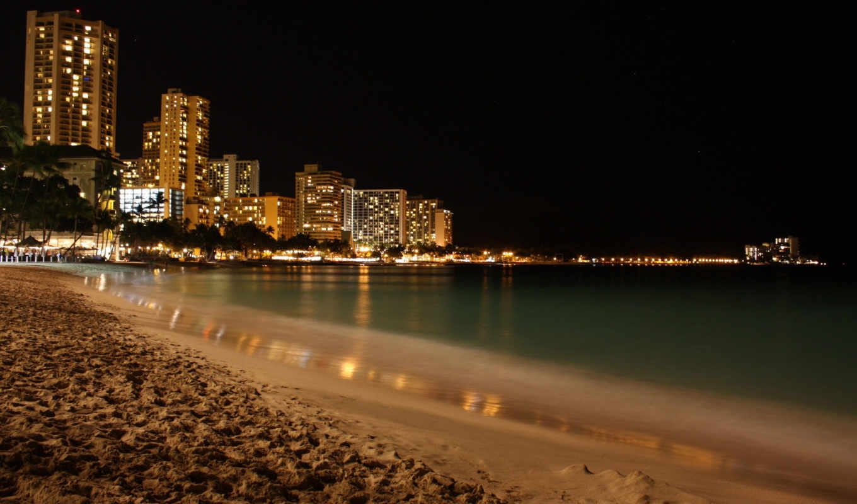 пляж, ночь, огни, море, neighborhood, город, романтика, ночью,