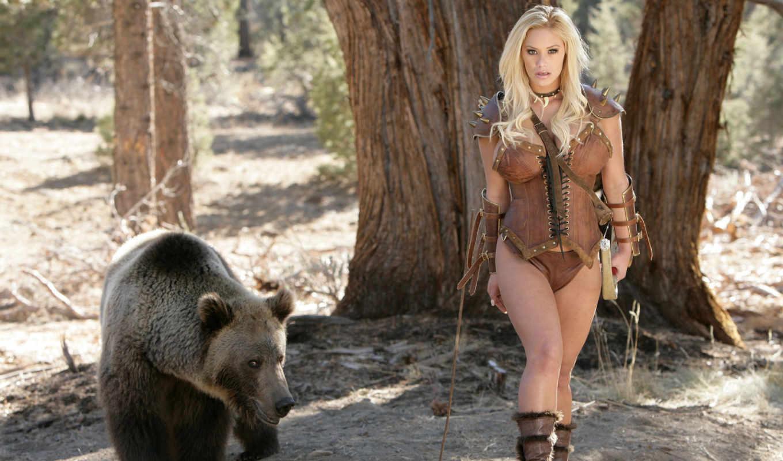 лучница, devushka, лук, les, blondinka, медведь, охотница, devushki,