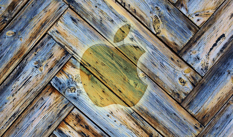 apple, древесина, лого, старый