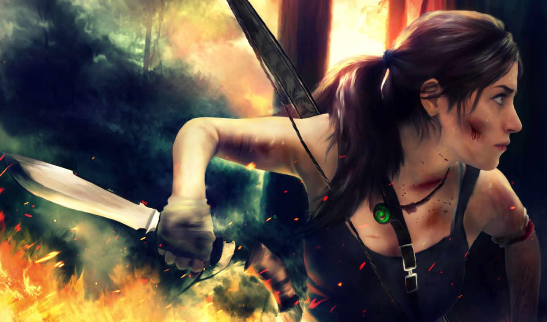 tomb, raider, лара, croft, нож, desktop, изображение, free,