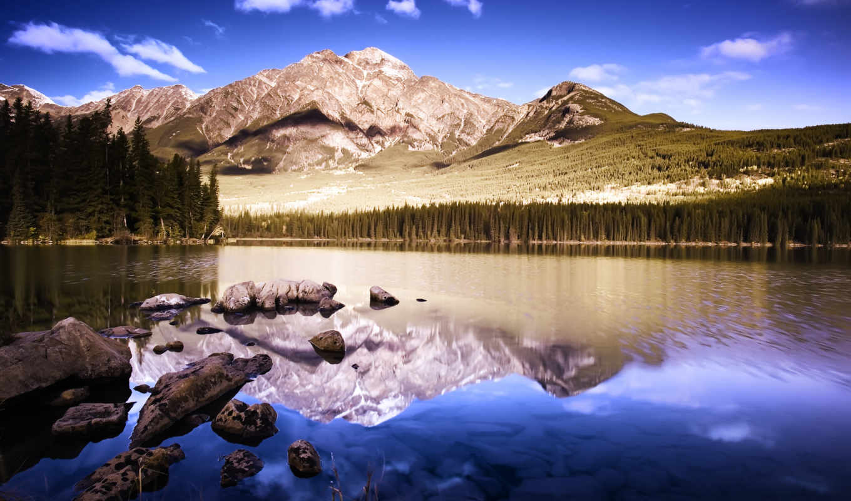 природа, гора, landscape, mountains, озеро, отражение,