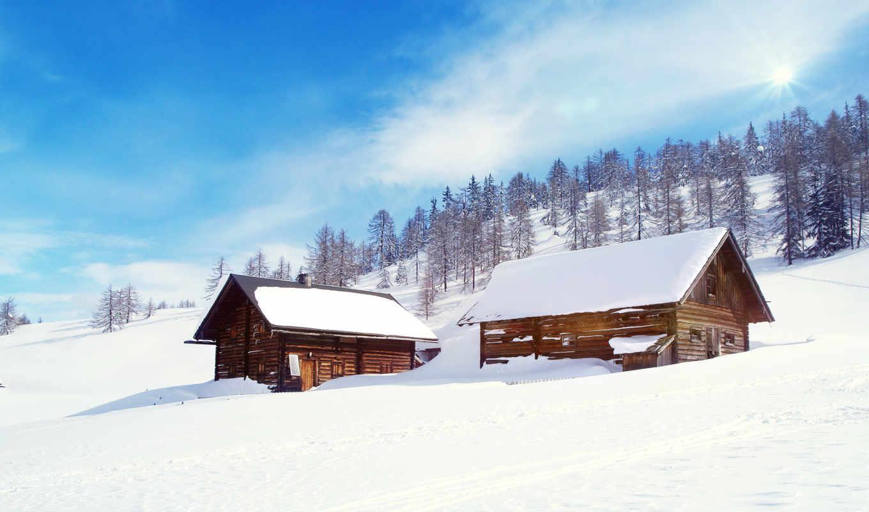 nieve, paisaje, invierno, neve, casas, fondo, pantalla, fondos,