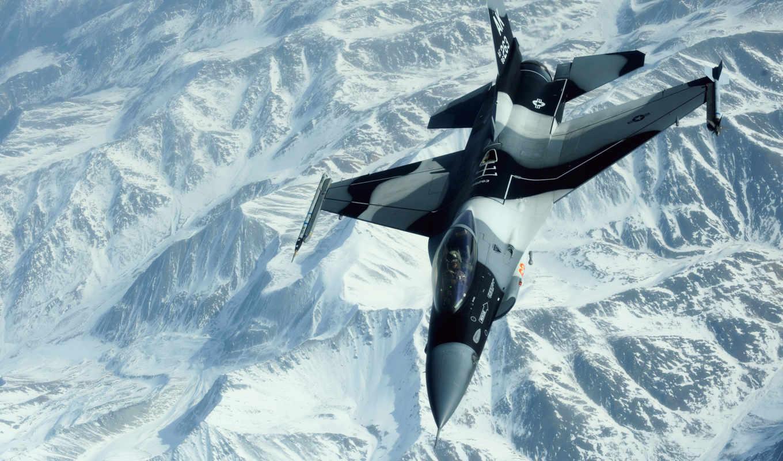 , горы, снег, fighter, flight,