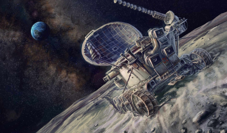 космос, арт, картина, живопись, луноход, планеты,