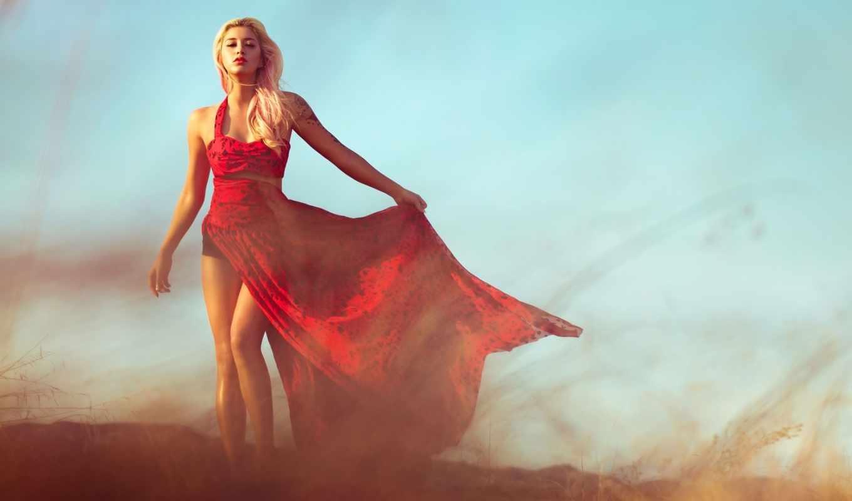 девушка, blonde, платье, красном,