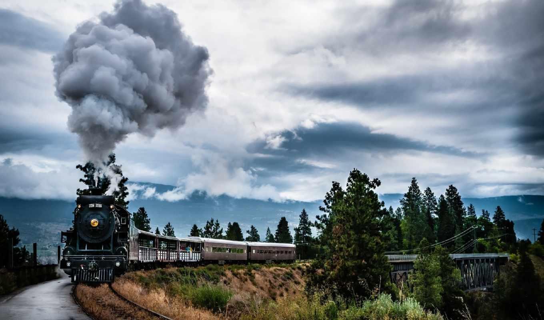 поезд, дым, локомотив, дорога, природа, взгляд,