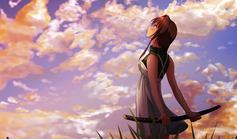 катана, девушка, anime, resolution,