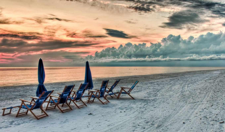 закат, пляж, небо, красивый, взгляд, море, облаках, песок,