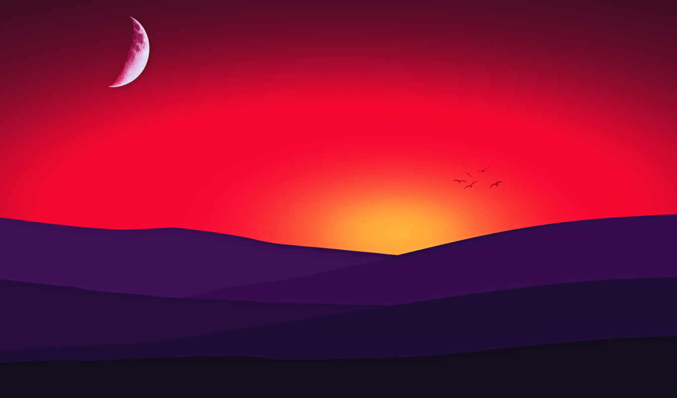 закат, desktop, mountains, minimal, red, birds, romantic,