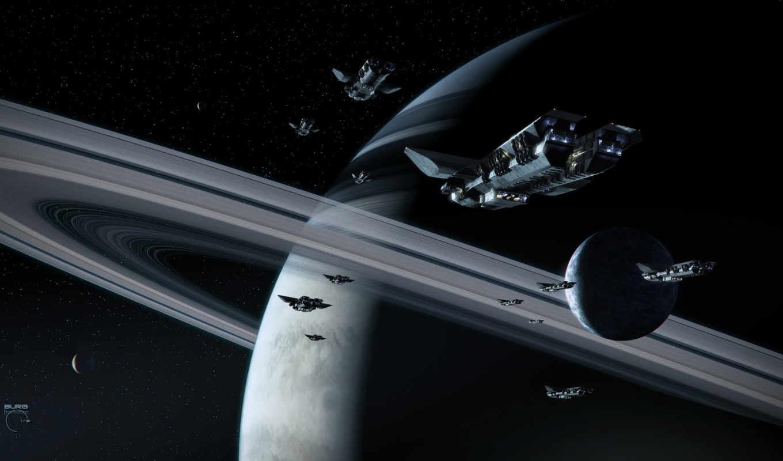 кольца, газовый, гигант, spaceships, спутники, burg, stiv, картинка,
