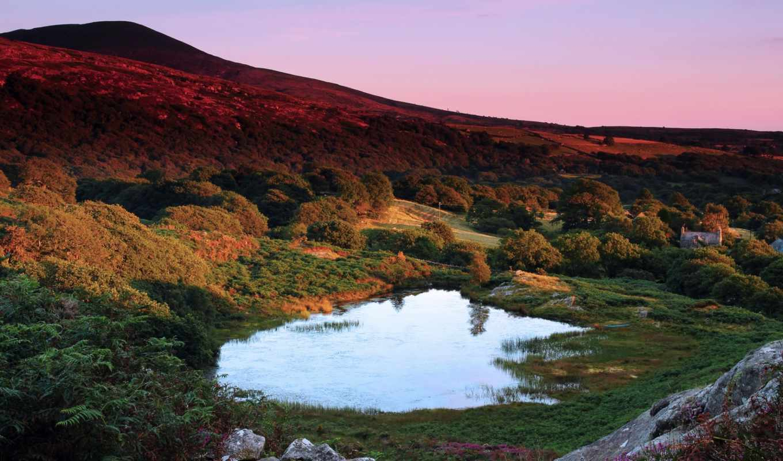 великобритания, гора, вечер, уэльс, картинка, картинку,