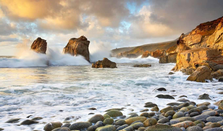 море, скалы, волны, горы, побережье, шторм, облака, небо,
