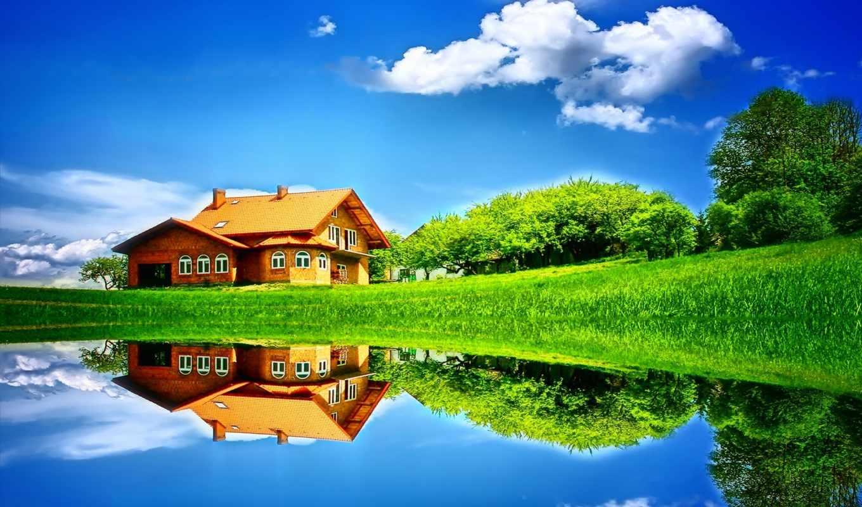 природа, summer, landscape, небо, деревья, house, дерево,