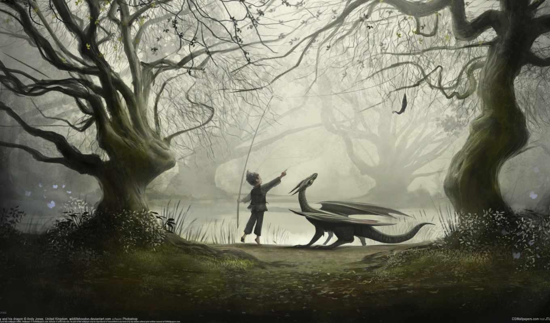 озеро,сказка, дракон, ребенок, лес, ребенок,