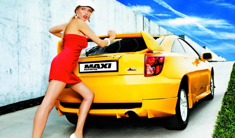 авто, devushki, девушка, автомобили, toyota, красивые, толкает, янв,