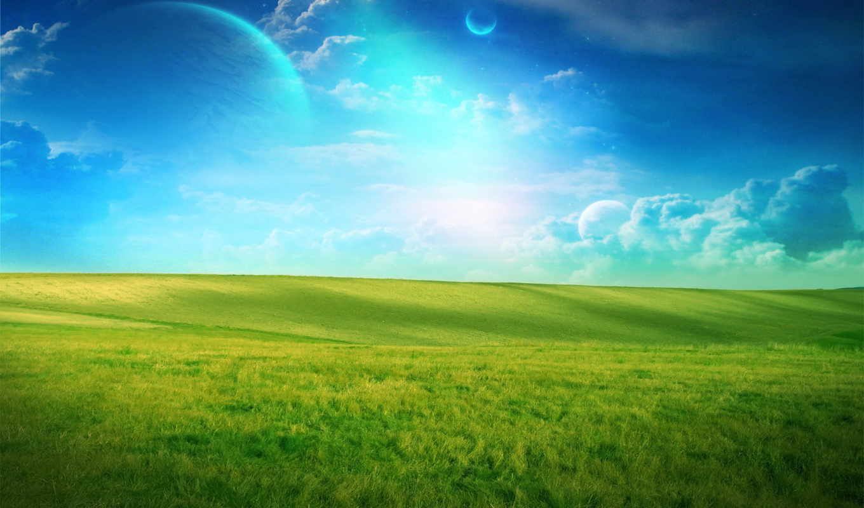 трава, небо, landscape, поле, blue, free, mobile,
