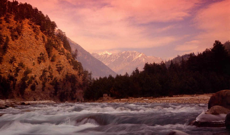 wallpaper, река, лазурь, горы, nature, порог, природа, himalayan, mountains, fond, просмотров,
