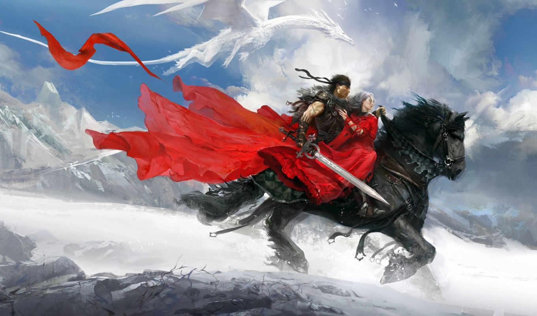 горы, снег, девушка, воин, дракон, арт, езда, верховая, fantasy,