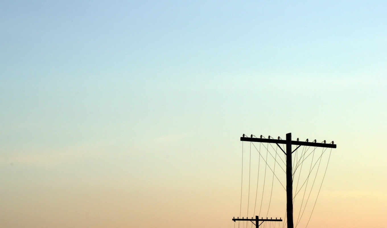изображение, sky, разрешении, ичл, правой, бесплатные, кнопкой, power, столбы, провода, skyscapes, sunset, wired, lines,