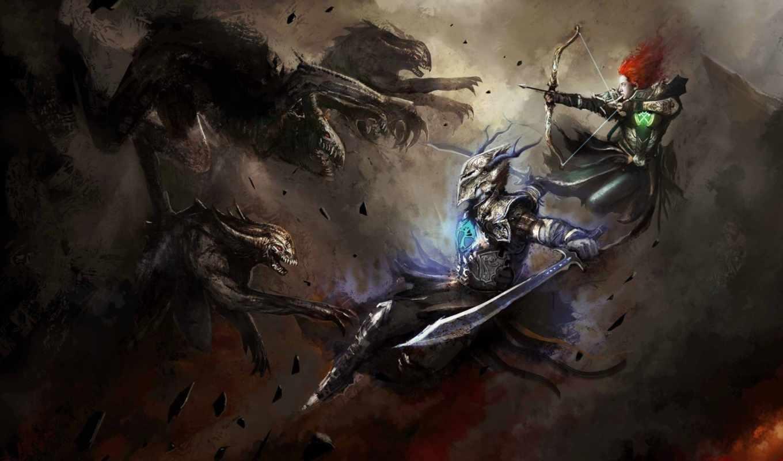 монстры, войны, art, бой,