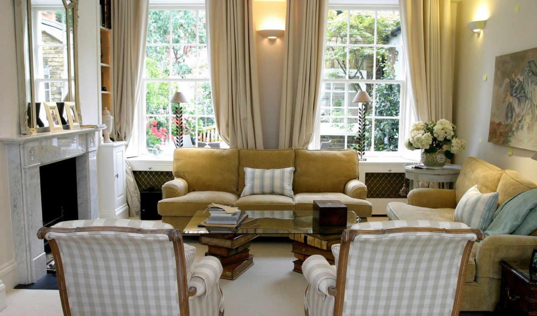 interer, диван, okno, каминь, dizain, окна, комната, кресло,