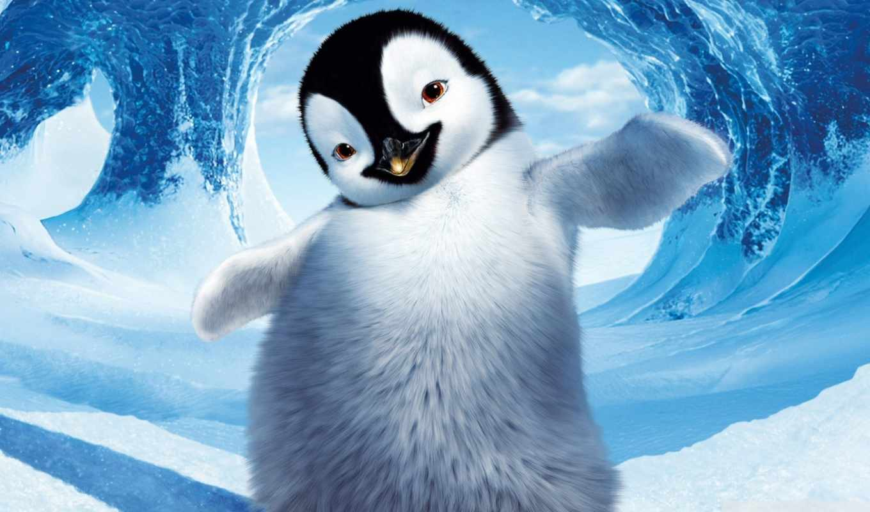 пингвин, делай, ноги, cartoon, снег, cute, happy, winter, характер,