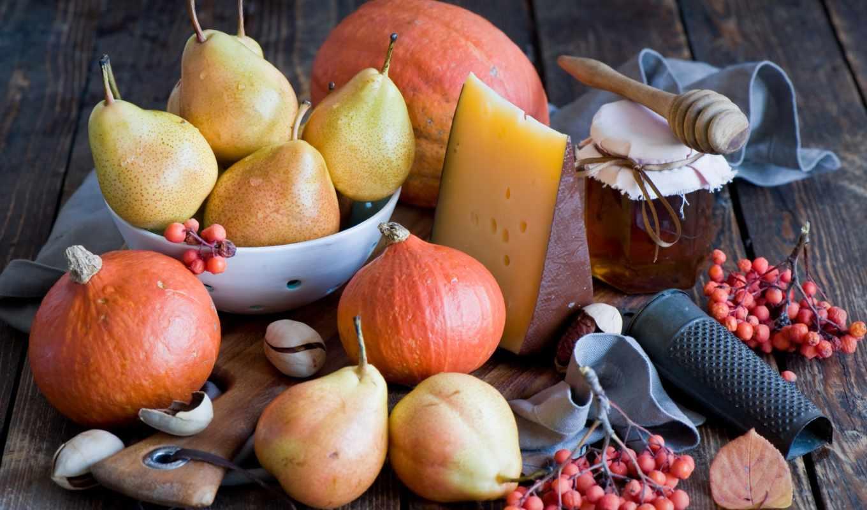 натюрморт, фрукты, сыр, тыква, производить, груши, мед, online, рябина, картинка, puzzle,