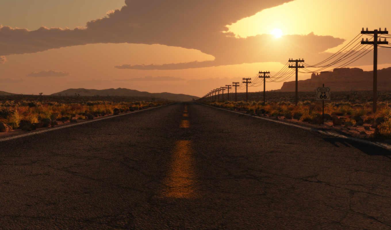обои, дорога, знак, сша, арт, лэп, облака, соверше