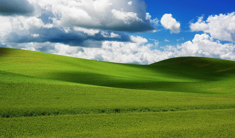 небо, облака, поле,