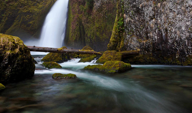 водопад, камни, река, вода, ветки, природа, картинка, картинку, бревно, кнопкой,