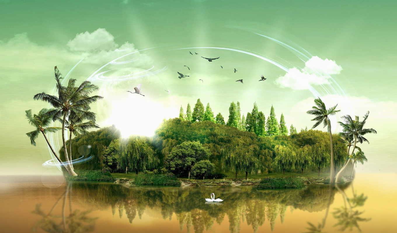 остров, графика, лебеди, пальмы, деревья, water,