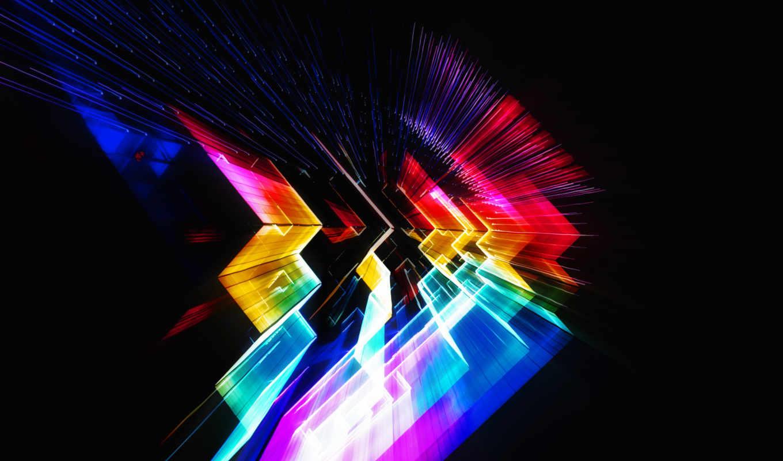 углы, лучи, фона, свет, абстрактная, графика, высоком, рабочем, столе, нов, красками,