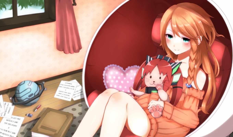 девушка, комната, книга, окно, кресло, игрушки, anime,