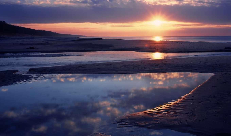 water, free, закат, пляж, горизонт, high, definition, песок, levry, harmonyum,