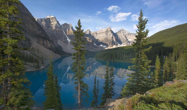канадский, banff, озеро, national, морейн, канада, park, moraine, горы,