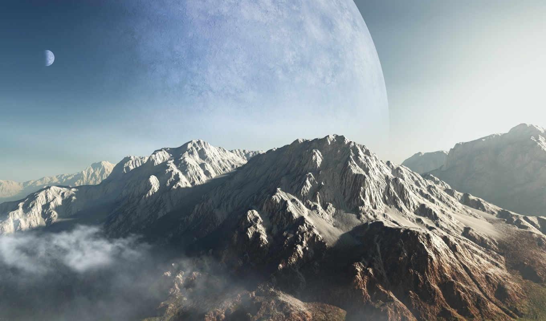 горы, планета, облака, гряда, пик, арт, высота, рассвет,