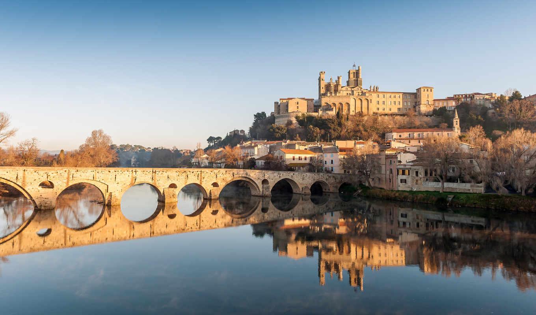 beziers, france, orb, безье, старый мост, река, собор, здания, пейзаж, отражение,