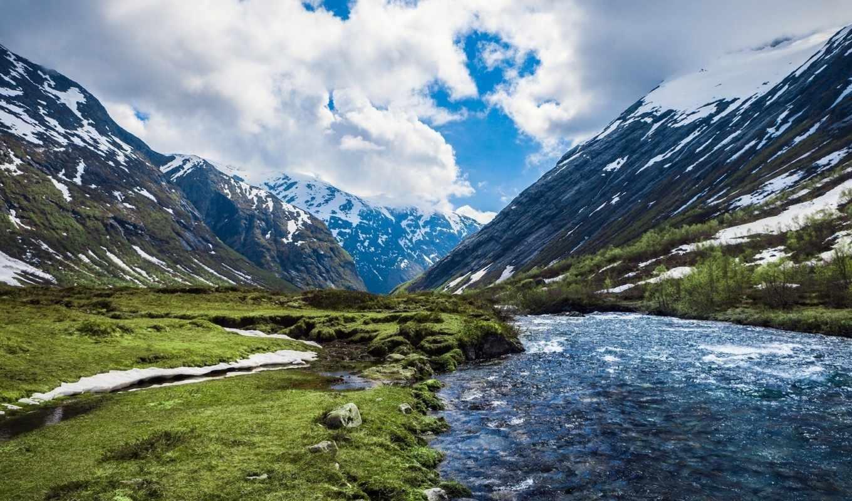 природа, норвегия, река, горы, луга, пейзажи,