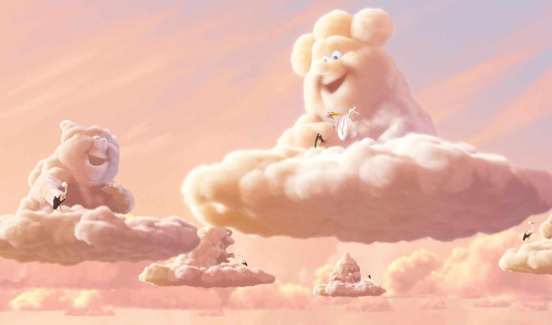 фотообои, облачность, переменная, детей, partly, cloudy, аисты, pixar,