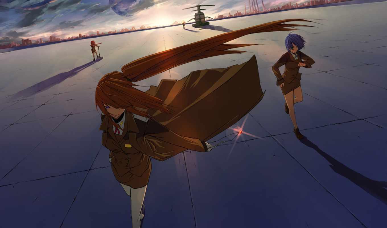 anime, nanoha, lyrical, art, плащ, девушка, ветер,