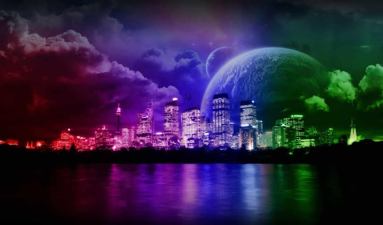 отражение, обработка, wallpaper, город, цвет, art, wallpapers, сказочный, hd, красочный, digital, and, city, нравится,