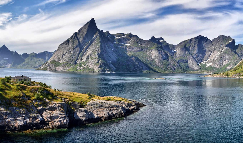 горы, дом, mountains, облака, lake, фьорд, природа, небо, пейзаж, картинка, images, изображение, картинку, пики, скалы, photos, острые,