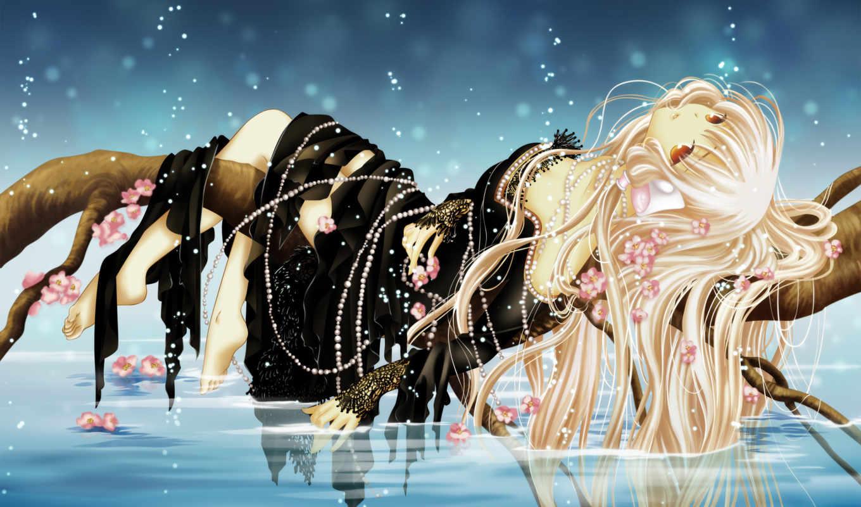 аниме, картинки, девушка, лежит, на дереве, над водой, рука, ночь, звезды,